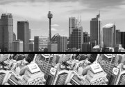 sydney-skyline B and W Border Print